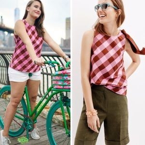 J.Crew •  oversized gingham bow shoulder tank top